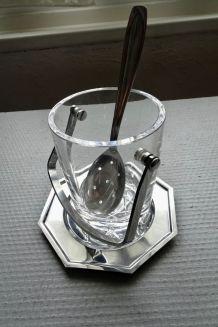 Seau à glaçons en cristal de Sèvres, avec cuiller et plateau