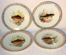 Lot de 4 assiettes décor poisson en Limoges.