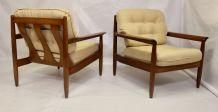 Paire de fauteuils scandinave en merisier année 50/60.
