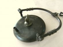 jolie lampe à huile rave de mineur avec coq