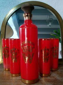 Service à Whisky fin années 60 rouge et doré