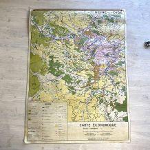 """Carte scolaire """"Seine et Oise"""" vintage 60's"""