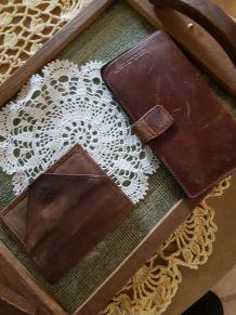 Lot de 2 pièces cuir vintage
