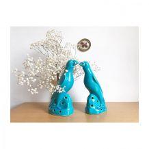 Perruches porcelaine émaillée