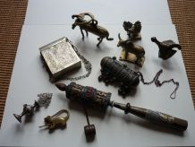 lot vintage moulin à prières animaux bronze rare cadeau noel