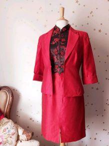 90s ensemble tailleur jupe veste rouge L
