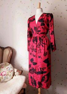 80s ensemble blouse jupe soie rouge noir L