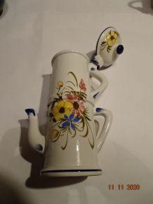 Vase fleuri avec couvercle céramique Bassano type verseuse,