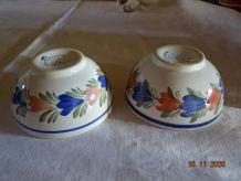 2 bols bretons décor fleurs entièrement peints à la main