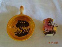 1 Cendrier ou poëlon ancien et 1 petit pot cigale provençale