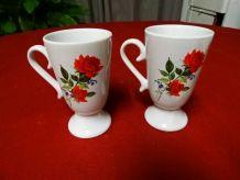 Mazagrans fleuris en porcelaine avec anses, tasses, mugs