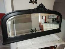 miroir très ancien relooké shabby noir poudré miroir biseaut