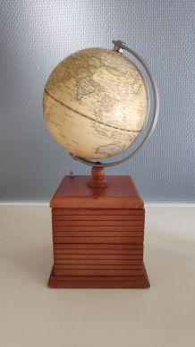globe mappemonde sur 2 rangements pivotants en bois
