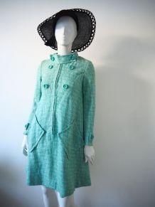 Manteau robe trapèze laine vert d'eau pastel vintage 60's