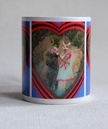 Mug chats amoureux, chats rétro.  Artisanat local.