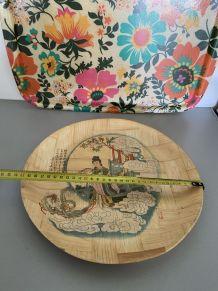 Plateau bambou vintage motif chinoise