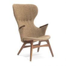 Fauteuil - Poul Hundevad, recouvert de laine brune