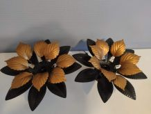 appliques feuilles en métal noir et doré