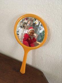 Petit miroir à main orange vintage
