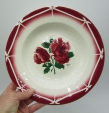 4 assiettes creuse Digoin Sarreguemines Cibon décor de rose