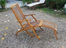 Chaise longue cannée