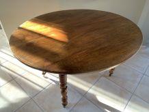 Table rabats ovale Louis Philippe pieds tournés et rallonge