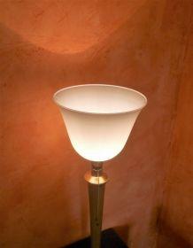 Lampe Mazda art-déco tulipe opaline années 60