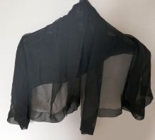 Ancien grand foulard en crêpe noir