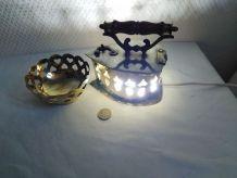 Lampe de nuit en laiton et coupelle ajourée