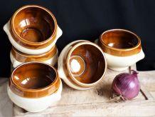 Service soupe à l'oignon, bols à soupe à l'oignon, bols grès