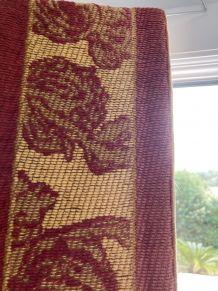 Rideaux brodés (coton) + 2 housses de coussins assorties