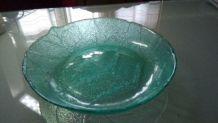 Petit saladier verre craquelé en forme de feuille