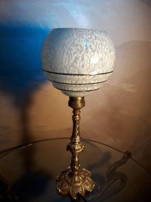 lampe bronze art deco  1930  globe clichy  bleu moucheter bl
