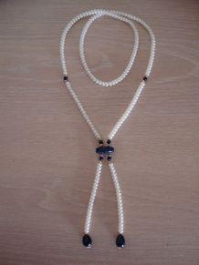 Sautoir ancien imitation perles et pierres bleues