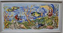 Cadre tapisserie poissons