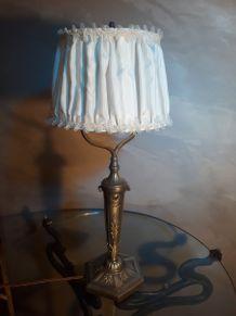 grande lampe bronze  argenté 1900 art nouveau  avec son abat