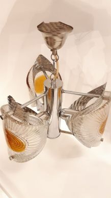 Lustre chromé avec verre murano