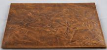 Jaquette couvre-livre art nouveau en cuir