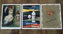 """Lot 3 pubs années 50 """"alcool"""""""