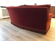 Canapé vintage style crapaud à franges