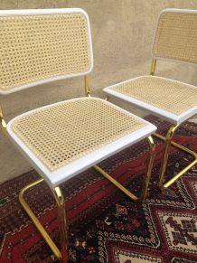 paire de chaise Breuer b 32 cesca dorée