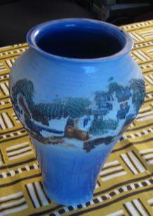 """Vase bleu - Décor """"Le Sud"""""""
