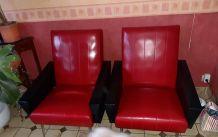 Paire de fauteuils simili cuir
