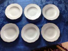 6 assiettes creuses en porcelaine blanche et garniture dorée
