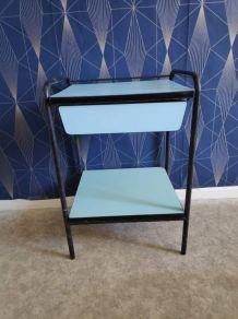 chevet formica bleu clair et structure métal noir années 50