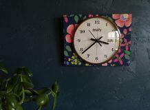 """Horloge vintage, pendule murale """"Maty Fleurs"""""""