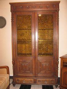 armoire/vitrine chêne massif