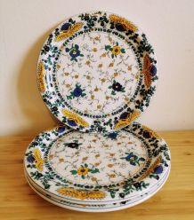 3x assiettes porcelaine d'Auteuil décor Bastide