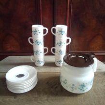 Ensemble cafetière et tasses à café - Veronica myosotis