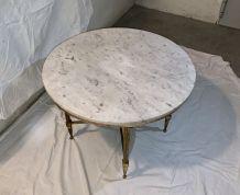 Table basse marbre blanc pieds laiton dorés
